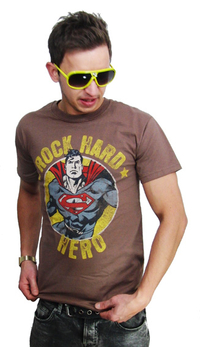 Superman Rock Hard Hero T-Shirt Retro Braun
