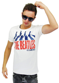 LOGOSH!RT Retro Herren Slim Fit Shirt THE BEATLES ABBEY ROAD