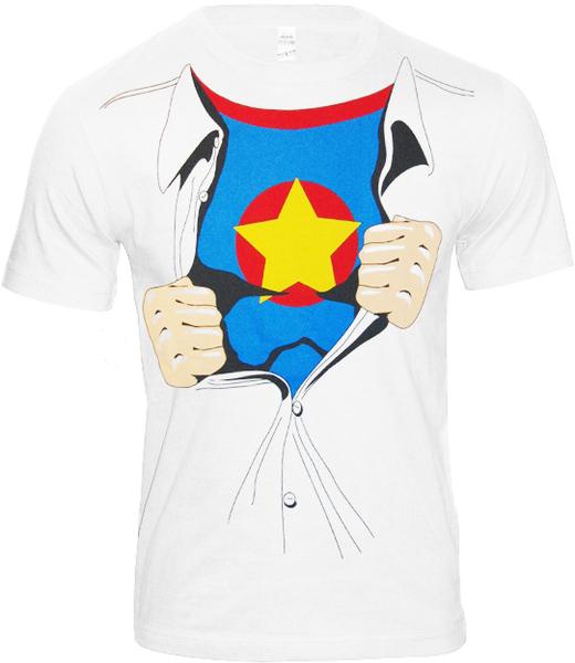Kultiges superhero retro comic helden t shirt wei for Retro superhero t shirts