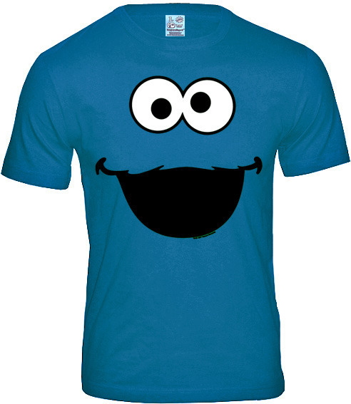 f0c882f36b LOGOSH!RT Krümelmonster Herren T-Shirt COOKIE MONSTER FACE Türkis