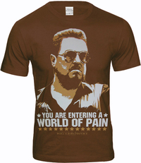 THE BIG LEBOWSKI Movie Herren T-Shirt  WORLD OF PAIN Braun