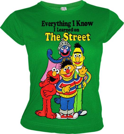 SESAMSTRASSE Comic Girl T-Shirt LERNED ON THE STREET Grün e2babc516f