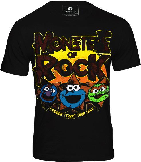 SESAME STREET Retro Herren T-Shirt MONSTERS OF ROCK Schwarz ceed8bc4f5