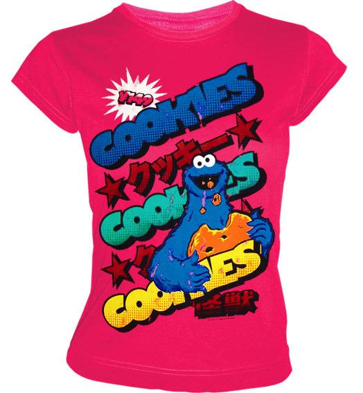 SESAME STREET Krümelmonster Girl T-Shirt COOKIES 149 YEN Pink 93af98767b