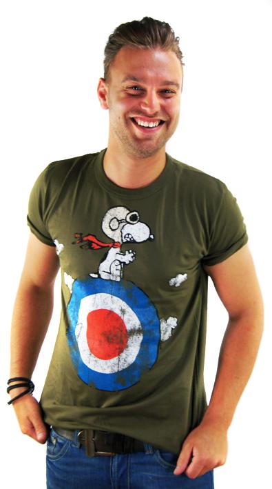 the best attitude 7a6e1 e6405 LOGOSH!RT Peanuts Retro Herren T-Shirt SNOOPY TARGET Khaki