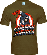 MARVEL Comic Herren T-Shirt CAPTAIN AMERICA khaki