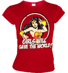 WONDER WOMAN Frauen T-Shirt GIRLS WILL SAVE THE WORLD