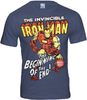 LOGOSH!RT - THE INVINCIBLE IRON MAN Retro Comic TV Serie Herren T-Shirt - STONE BLUE