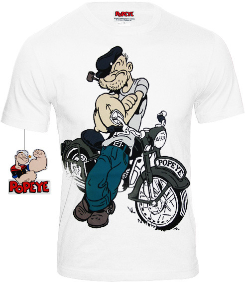 Shirt Popeye Retro Weiss Herren T Comic Biker 0vy8OmnwPN