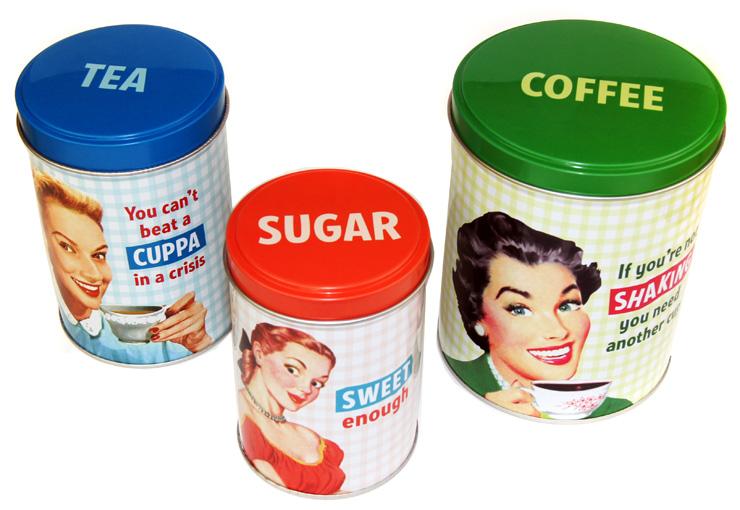 50er jahre retro look dosen 3er set coffee tea sugar kaufen. Black Bedroom Furniture Sets. Home Design Ideas