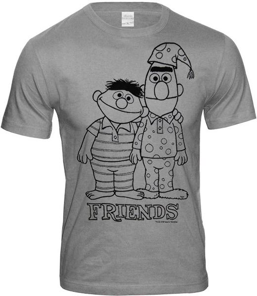 86099dfaf5 ERNIE & BERT Sesamstraße Herren T-Shirt FRIENDS Sportsgrey