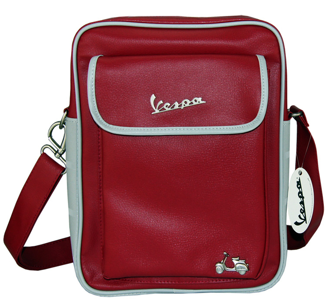vespa flight bag tasche gro e handtasche rot grau retro. Black Bedroom Furniture Sets. Home Design Ideas