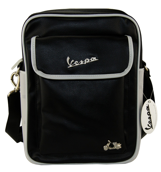 vespa flight bag tasche gro e handtasche schwarz grau retro. Black Bedroom Furniture Sets. Home Design Ideas