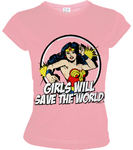 DC Comic Wonder Woman Damen T-Shirt GIRLS WILL SAVE THE WORLD ROSA