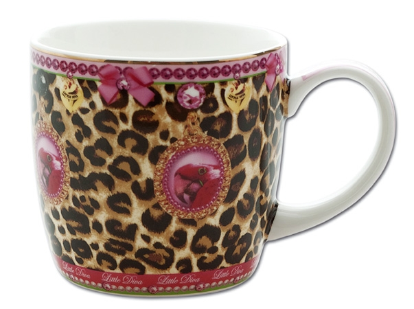 little diva geschirr set porzellan 3 teller tasse sch ssel leopard gold. Black Bedroom Furniture Sets. Home Design Ideas