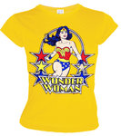 DC Comics Damen T-Shirt  WONDER WOMAN STARS  gelb