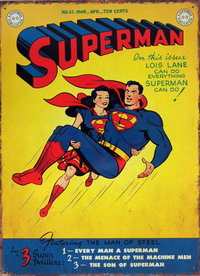 DC Comics Nostalgie Blechschild im Retro Design Comic Cover SUPERMAN & SUPERGIRL