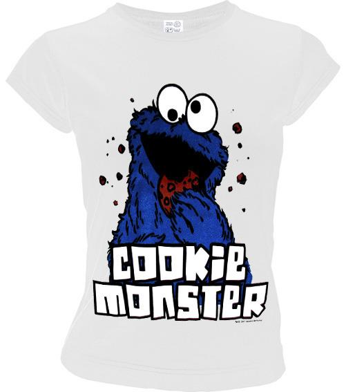 LOGOSH!RT Sesamstraße Damen T-Shirt COOKIE MONSTER Weiß 0172db093c