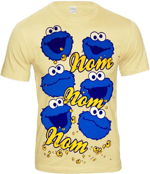 COOKIE MONSTER Krümelmonster Herren T-Shirt NOM NOM NOM creme 06ee93dfe0