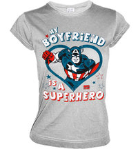 LOGOSH!RT Captain America Girl Shirt MY BOYFRIEND...