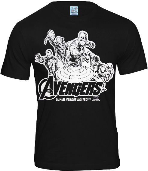 logoshirt superhelden retro herren t shirt avengers schwarz. Black Bedroom Furniture Sets. Home Design Ideas