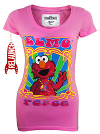 RELAUNCH Sesamstraße Distressed Girl T-Shirt ELMO PEACE