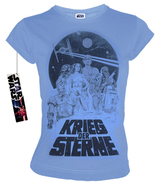 star wars retro comic damen t shirt krieg der sterne hellblau. Black Bedroom Furniture Sets. Home Design Ideas