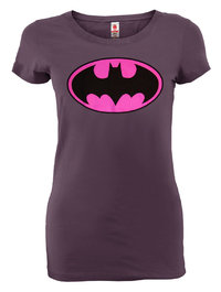 LOGOSHIRT Comic Damen T-Shirt BATMAN LOGO PINK