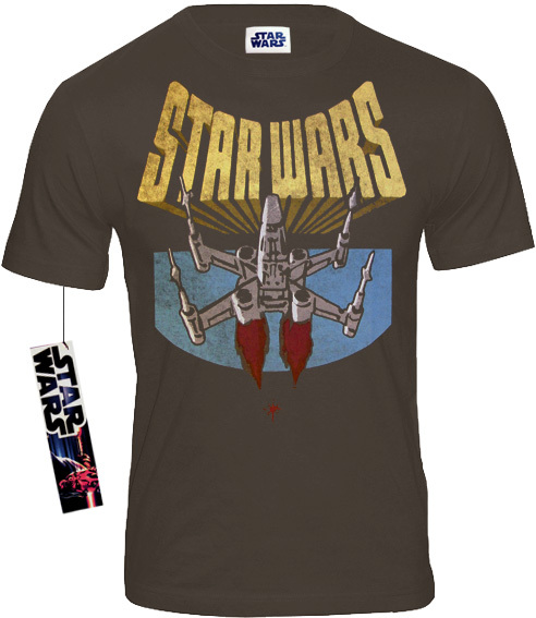 star wars retro herren t shirt x wing fighter grau. Black Bedroom Furniture Sets. Home Design Ideas