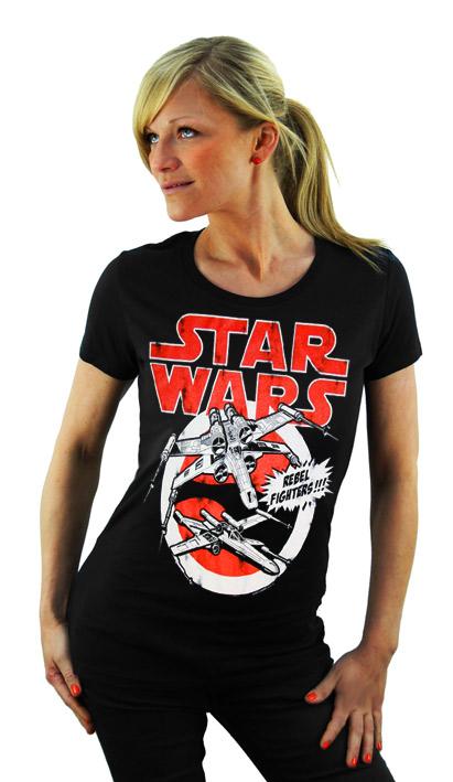 logosh rt star wars damen t shirt rebel fighters navy. Black Bedroom Furniture Sets. Home Design Ideas