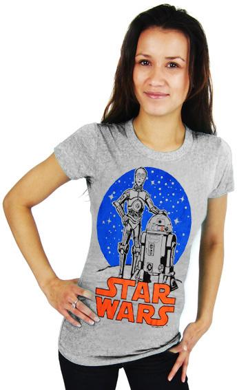 logosh rt star wars damen t shirt droids grau meliert. Black Bedroom Furniture Sets. Home Design Ideas