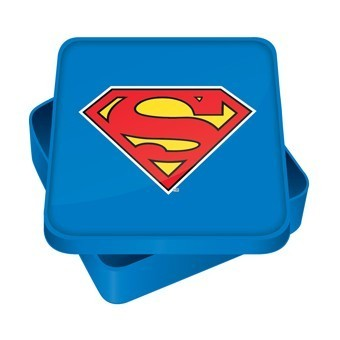 Metall-Brotzeitbox in Blau mit Supermanlogo