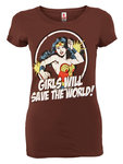 Wonder Woman Save The World Damen T-Shirt braun