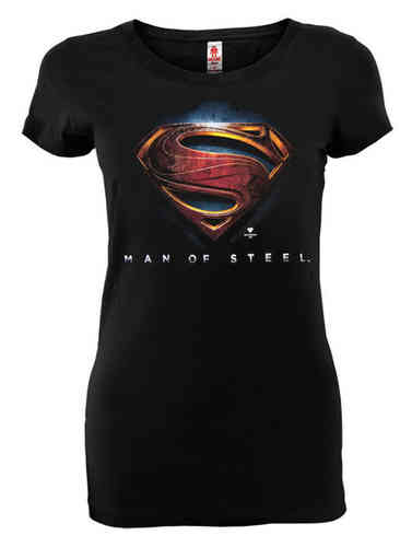 Superman Man Of Steel Logoshirt Frauen T-Shirt Schwarz