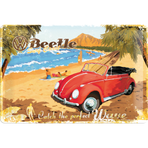 original VW Käfer Blechschild Catch The Wave 20x30 cm