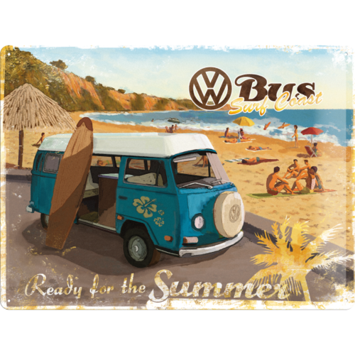original VW Bulli T2 Blechschild Ready Summer 40x30 cm