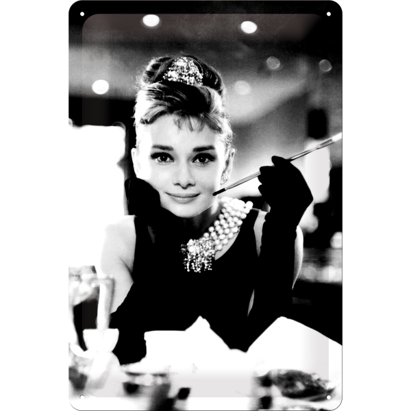 audrey hepburn blechschild portrait schwarz weiss 20x30 cm kaufen. Black Bedroom Furniture Sets. Home Design Ideas