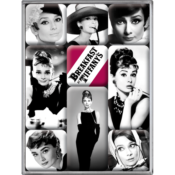 audrey hepburn schwarz wei magnet set 9tlg bestellen. Black Bedroom Furniture Sets. Home Design Ideas