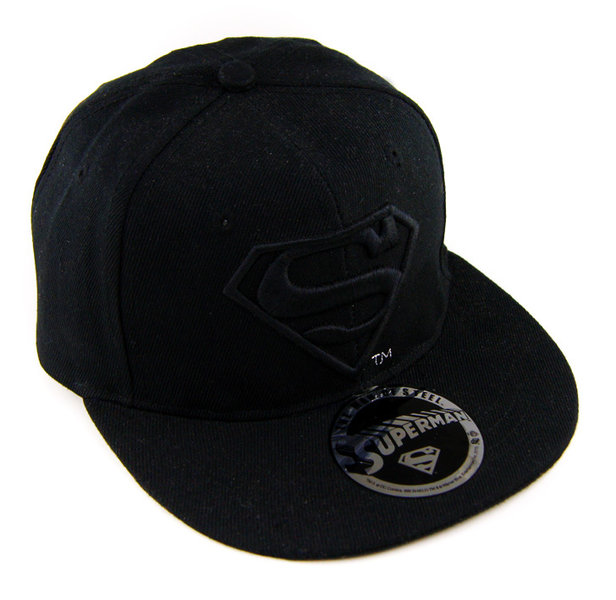 ... Flat Cap Snapback Basecap SUPERMAN LOGO schwarz ... 8a2276fa7c