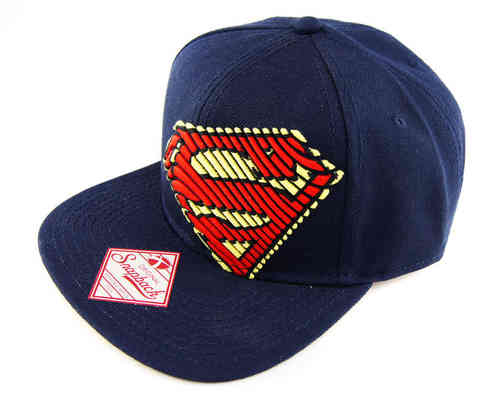 Superman Flat Cap Snapback MAN OF STEEL STRIPLOGO navy