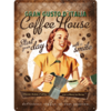 50er Retro Blechschild Coffee House Lady 30x40 cm