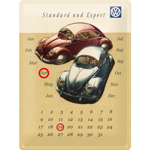 Original VW Beetle Käfer Duo Blechschild Kalender 30x40 cm