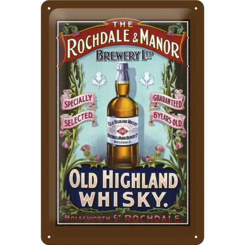 Old Highland Whisky Werbeschild Blechschild 20x30cm