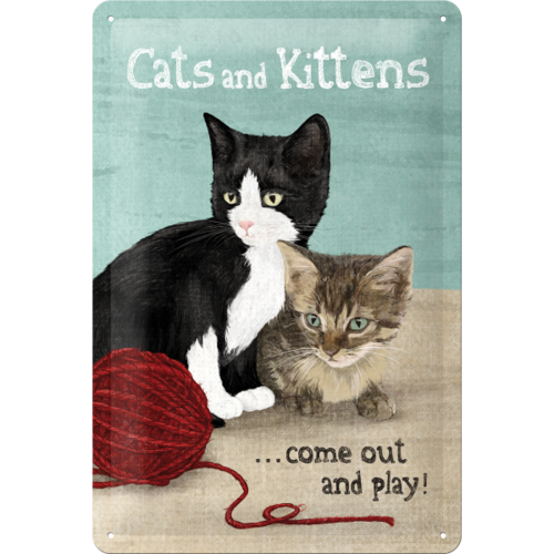 Süßes Retro Cats And Kittens Blechschild 20x30cm