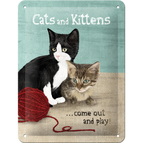 Süßes Retro Cats and Kittens Blechschild 15x20 cm