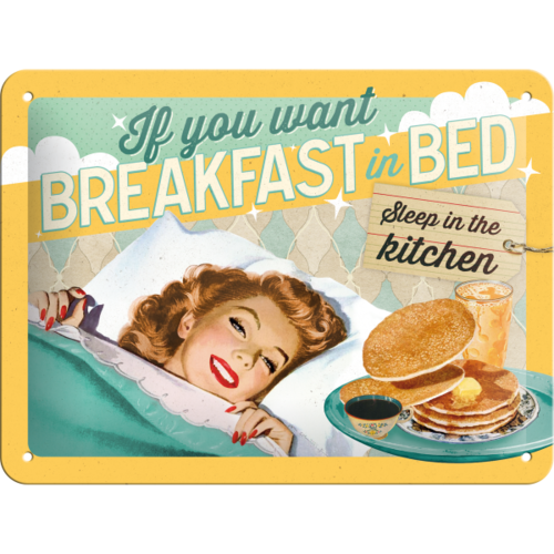 50er Retro Pin Up Breakfast in Bed Blechschild 15x20 cm