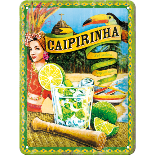 Retro Cocktail Bar Caipirinha Blechschild 15x20 cm