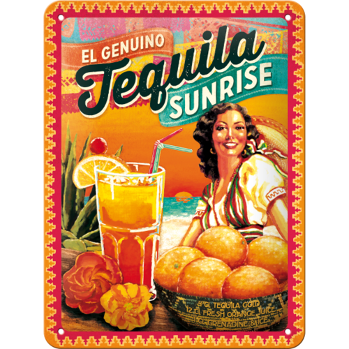 Retro Cocktail Bar Tequila Sunrise Blechschild 15x20 cm