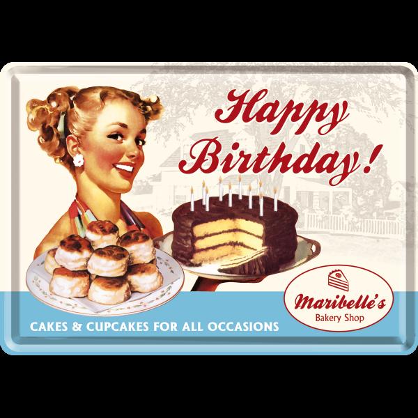Happy Birthday Cake Blechpostkarte Geburtstag 10x14cm