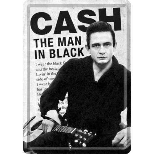 Johnny Cash Man in Black Blechpostkarte Grußkarte 10x14cm
